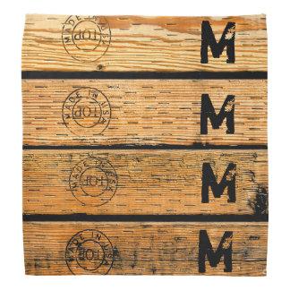 Bandana As pranchas de madeira Monogrammed carimbaram w
