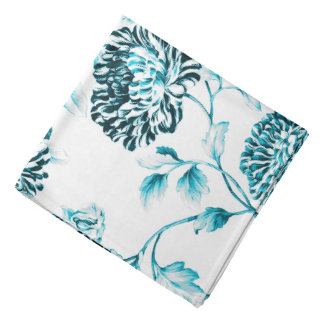 Bandana Branco antigo & turquesa Toile floral botânico