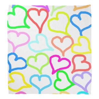Bandana colorido dos corações