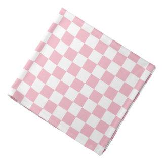 Bandana Teste padrão branco rosa pálido do tabuleiro de