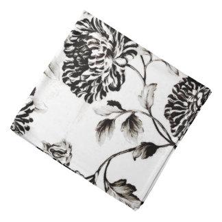 Bandana Toile floral botânico branco & preto antigo
