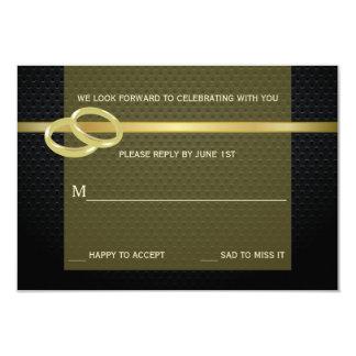 Bandas do cartão de resposta do ouro convite 8.89 x 12.7cm