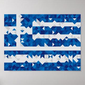 Bandeira abstrata da piscina, poster grego dos