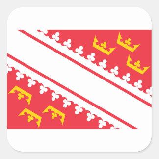 Bandeira Alsácia (France) Drapeau Alsácia Flagge Adesivo Quadrado