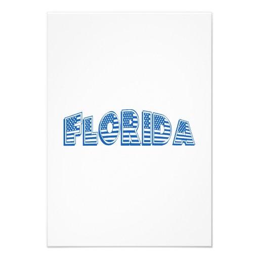 Bandeira americana azul Florida Convites Personalizados