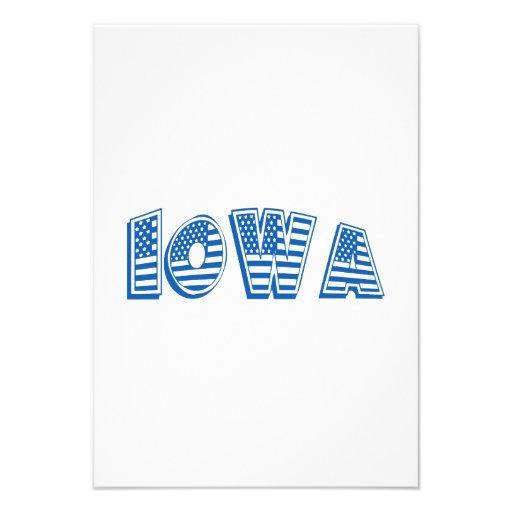 Bandeira americana azul Iowa Convite Personalizados