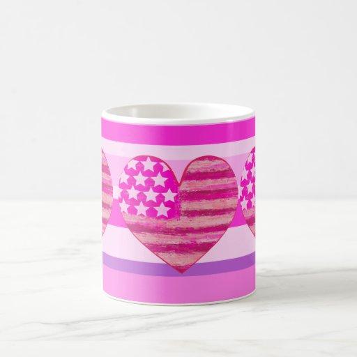 bandeira americana cor-de-rosa, coração caneca
