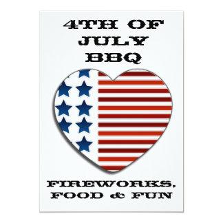 Bandeira americana coração convite do 4 de julho