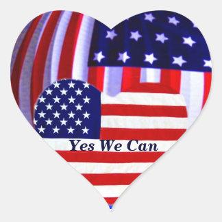 Bandeira americana, coração da etiqueta do love_ adesivo coração