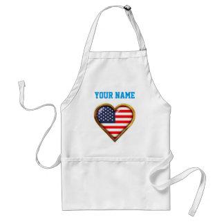 Bandeira americana Coração-Dada forma Avental