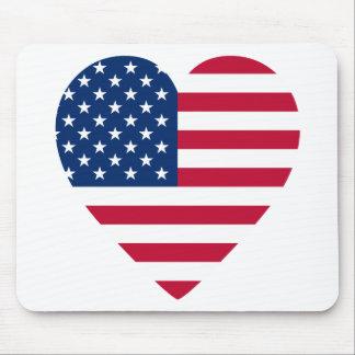 Bandeira americana Coração-Dada forma Mousepad
