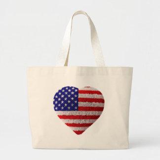 Bandeira americana - coração macio bolsas de lona