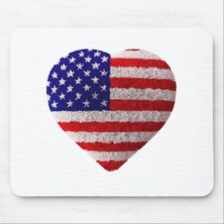 Bandeira americana - coração macio mousepads