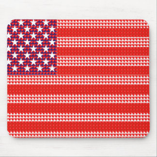 Bandeira americana criada com corações pequenos mouse pad