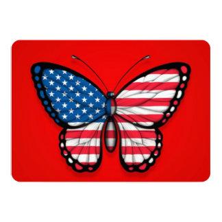 Bandeira americana da borboleta no vermelho convite personalizado