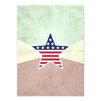 Bandeira americana da estrela no fundo do vintage convite 13.97 x 19.05cm