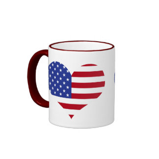 Bandeira americana da forma do coração canecas