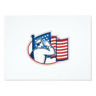 Bandeira americana da saudação do soldado retro convite personalizado