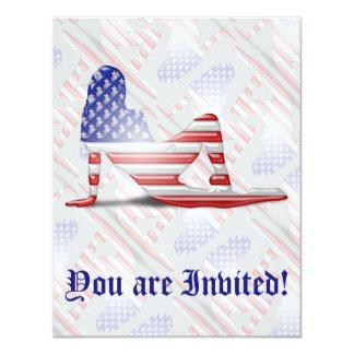 Bandeira americana da silhueta da menina convite 10.79 x 13.97cm