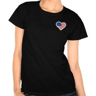 Bandeira americana dada forma coração tshirts