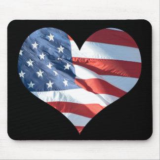 Bandeira americana dada forma coração mouse pad