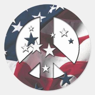 Bandeira americana das estrelas & das listras do adesivo em formato redondo