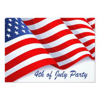Bandeira americana de ondulação 4o do partido de convite 12.7 x 17.78cm