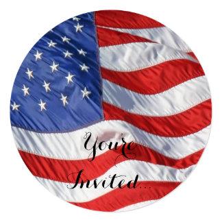 Bandeira americana de ondulação patriótica convite quadrado 13.35 x 13.35cm