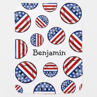 Bandeira americana de sorriso do círculo lustroso cobertores de bebe