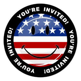 Bandeira americana de sorriso do círculo lustroso convite quadrado 13.35 x 13.35cm