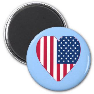 Bandeira americana dentro de um coração grande imã