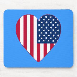 Bandeira americana dentro de um coração grande mousepads