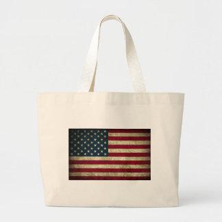 bandeira americana desvanecida e suja bolsa