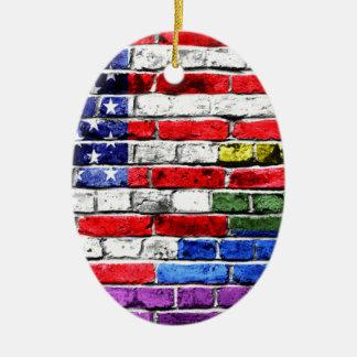Bandeira americana do arco-íris ornamento de cerâmica oval