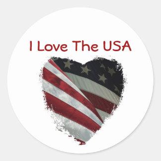 Bandeira americana do coração adesivo