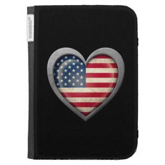 Bandeira americana do coração com efeito do metal