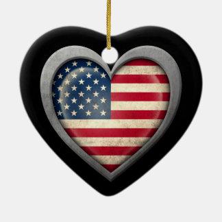 Bandeira americana do coração com efeito do metal ornamento de cerâmica coração