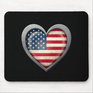 Bandeira americana do coração com efeito do metal mousepad