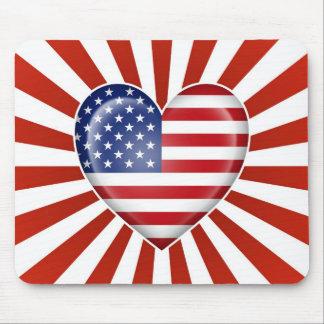 Bandeira americana do coração com explosão da estr mouse pad