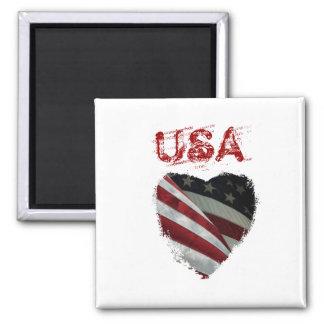 Bandeira americana do coração ímã quadrado