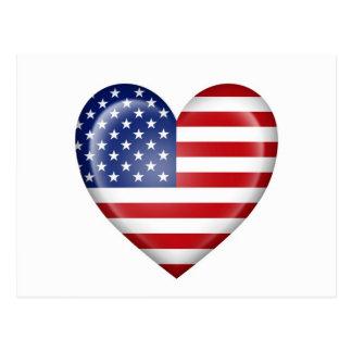 Bandeira americana do coração no branco cartão postal