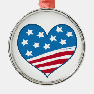 Bandeira americana do coração - ornamento