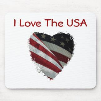 Bandeira americana do coração mousepad