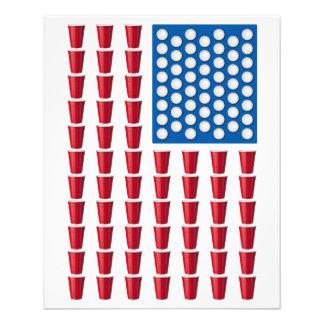 Bandeira americana do jogo do bebendo de Pong da c Panfleto Personalizado