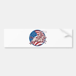 Bandeira americana do laço do cavalo de equitação  adesivo para carro