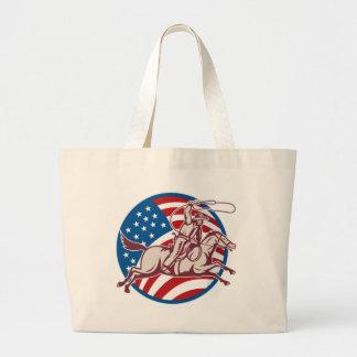 Bandeira americana do laço do cavalo de equitação  bolsa para compras