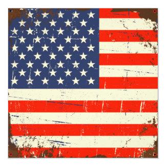 Bandeira americana do vintage convite quadrado 13.35 x 13.35cm