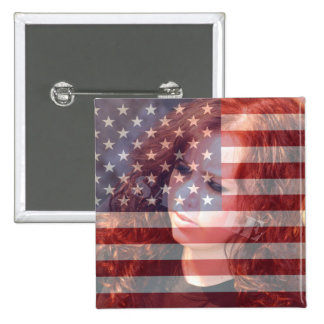 Bandeira americana dos EUA customizável com foto Bóton Quadrado 5.08cm