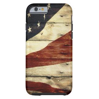 Bandeira americana dos EUA do woodgrain do Grunge Capa Tough Para iPhone 6