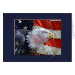 Bandeira americana e cartões de agradecimentos de